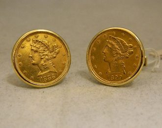 14k Yellow Gold $5 1/4oz 22k Gold Coin Cuff Links