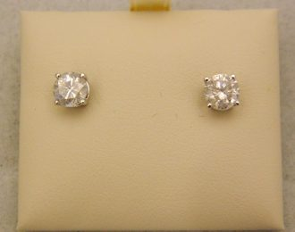 14k White Gold 1.50CT TW Diamond Stud Screw Back Earrings