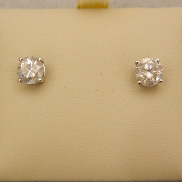 earrings studs set white stud round basket classic back cut screw view prong