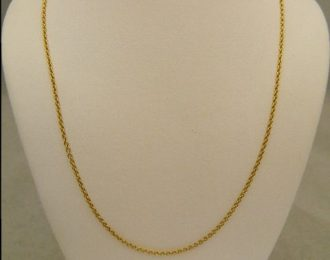 14k Yellow Gold 18″ 0.81mm Chain Link Necklace