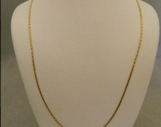 14k Yellow Gold 16″ 1.00mm Round Box Link Necklace