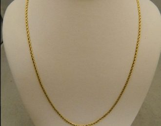 14k Yellow Gold 24″ 1.30mm Wheat Link Necklace