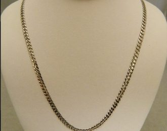 14k White Gold 18″ 3.35mm Curb Link Necklace