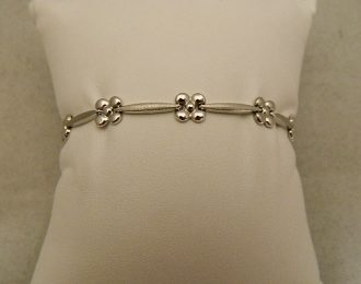 14k White Gold 7″ 2.33mm Floral Bracelet
