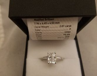 Radiant Cut Platinum Ring