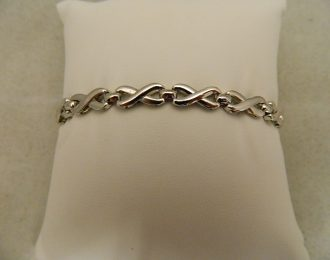 14k White Gold X Link 7″ 6.00mm Bracelet