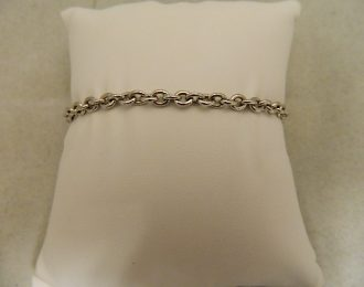 14k White Gold Rolo Link 7″ 4.40mm Bracelet