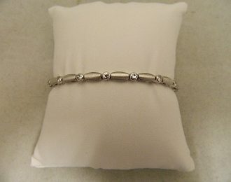 14k White Gold Single Cut 1CT TW Diamond 7″ 4.10mm Bracelet