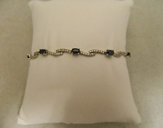 14k White Gold Diamond & Sapphire 1.26CT TW 7″ 3.75mm Bracelet