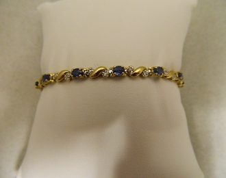 14k Yellow Gold Sapphire & Diamond 0.78CT TW 7″ 3.65mm Bracelet