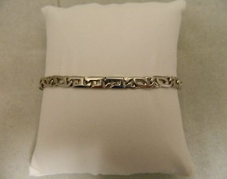 14k White Gold Cat Eye Link 8″ 5.25mm Bracelet