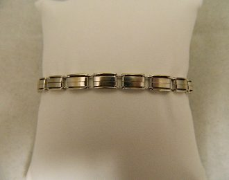 14k White Gold Brushed Link 7.5″ 6.18mm Bracelet