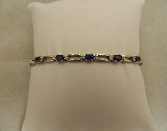 14k White Gold Sapphire & Diamond 0.25CT TW 7.5″ 3.75mm Bracelet