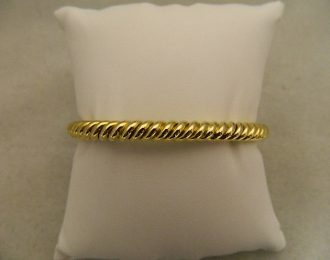 14k Yellow Gold Cable Link Bangle 6.13mm Bracelet