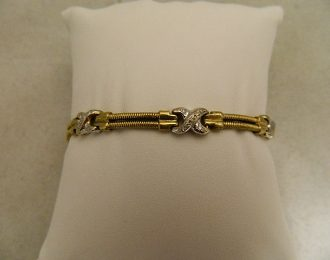 14k Two-toned Diamond X Link 0.33CT TW 7.5″ 7.40mm Bracelet