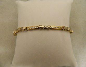 14k Two-toned Diamond Link 1.75CT TW 8″ 3.40mm Bracelet