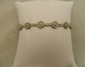 14k White Gold Floral Diamond 1.00CT TW 7″ 8.30mm Bracelet