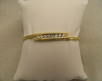 14k Yellow Gold Bangle Diamond 1.00CT TW 6.25mm Bracelet