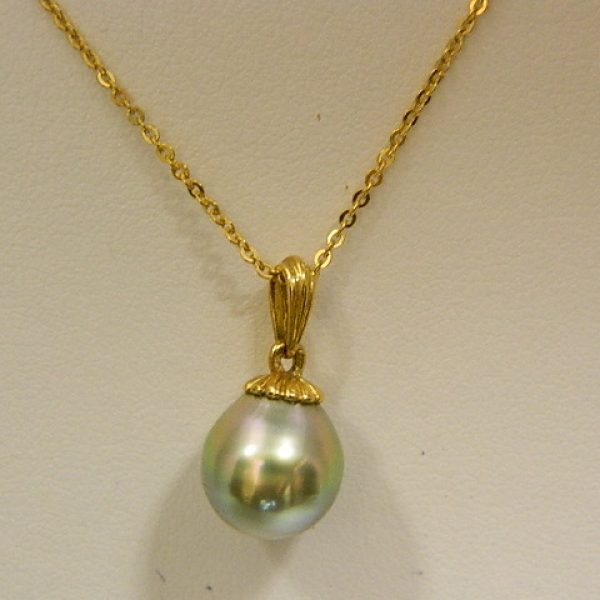 18k yellow gold tahitian pearl pendant w16 cable link chain fort 18k yellow gold tahitian pearl pendant w16 aloadofball Choice Image