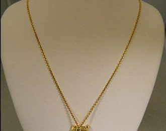 14k Yellow Gold Blue Topaz Bug Pin/Pendant w/16″ Cable Link Chain