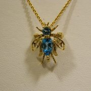 "14k-Yellow-Gold-Blue-Topaz-Bug-Pin-Pendant-w/16""-Cable-Link-Chain-1"