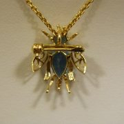 "14k-Yellow-Gold-Blue-Topaz-Bug-Pin-Pendant-w/16""-Cable-Link-Chain-2"