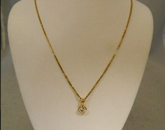 14k Yellow Gold Bezel Set 0.75CT Diamond Pendant w/20″ Wheat Link Chain