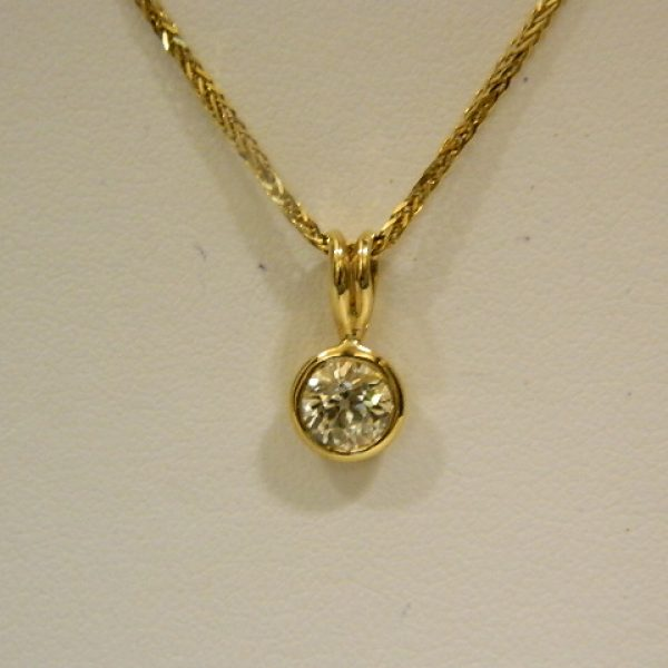14k yellow gold bezel set 075ct diamond pendant w20 wheat link 14k yellow gold bezel set 075ct diamond pendant aloadofball