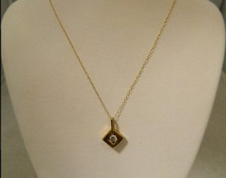 14k Yellow Gold .24CT Diamond Pendant w/22″ Cable Link Chain