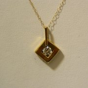 "14k-Yellow-Gold-.24CT-Diamond-Pendant-w/22""-Cable-Link-Chain-1"