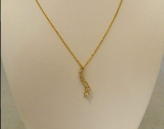 14k Yellow Gold 0.25CT TW Diamond Journey Pendant w/18″ Cable Link Chain