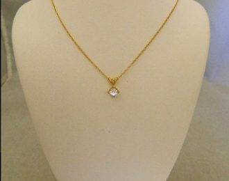 14k Yellow Gold 0.45CT Princess Diamond Solitaire Pendant w/18″ Cable Link Chain