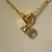"14k-Yellow-Gold-0.45CT-Princess-Diamond-Solitaire-Pendant-w/18""-Cable-Link-Chain-2"