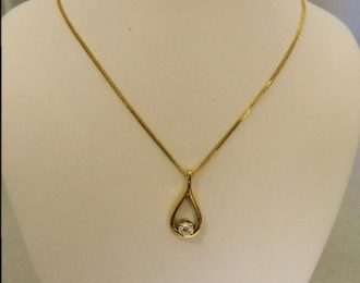 14k Yellow Gold 0.32CT Round Diamond Drop Pendant w/18″ Wheat Link Chain