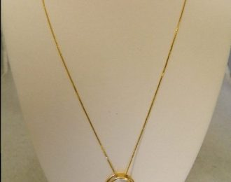 14k Yellow Gold 0.20CT TW Circular Diamond Pendant w/18″ Box Link Chain
