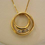 "14k-Yellow-Gold-0.20CT-TW-Circular-Diamond-Pendant-w/18""-Box-Link-Chain-1"