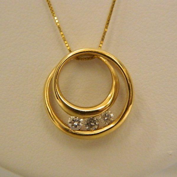 14k Yellow Gold 0.20CT TW Circular Diamond Pendant w 18