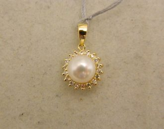 14k Yellow Gold 1/2″ Pearl Pendant w/0.20CT TW Diamond Halo
