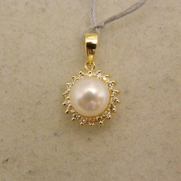 8af8c5b9359a7 14k Yellow Gold 1/2″ Pearl Pendant w/0.20CT TW Diamond Halo