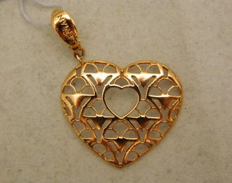 14k 1 1/2″ Rose Gold LeVian Heart Pendant