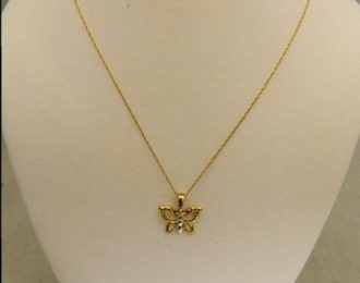 10k Two-Toned 0.02CT Diamond Butterfly Pendant w/18″ Cable Link Chain