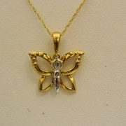 "10k-Two-Toned-0.02CT-Diamond-Butterfly-Pendant-w/18""-Cable-Link-Chain-1"