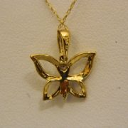 "10k-Two-Toned-0.02CT-Diamond-Butterfly-Pendant-w/18""-Cable-Link-Chain-2"