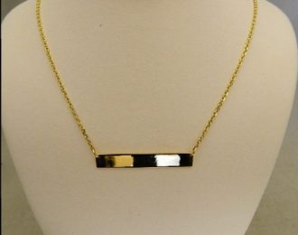 14k Yellow Gold 1 1/2″ Engraveable Bar Necklace w/18″ Cable Link Chain