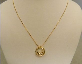 14K Yellow Gold 0.15CT TW Circular Diamond Pendant w/18″ Box Link Chain