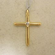 "14k-3/4""-Yellow-Gold-0.05CT-Diamond-Slider-Cross-Pendant"