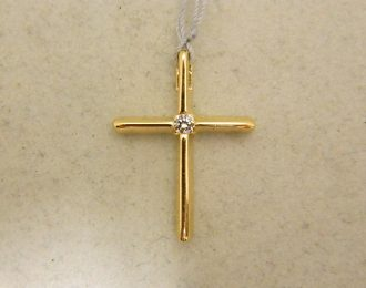 14k 3/4″ Yellow Gold 0.05CT Diamond Slider Cross Pendant