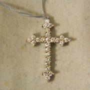 "18k-3/4""-White-Gold-0.50CT-TW-Diamond-Cross-Pendant"