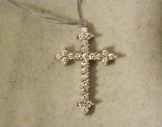 18k 3/4″ White Gold 0.50CT TW Diamond Cross Pendant