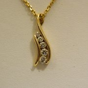 "14k-Yellow-Gold-0.33CT-TW-Diamond-Slider-Pendant-w/16""-Cable-Link-Chain-1"